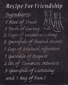 Recipe for Friendship words-i-love Friendship Recipe, Friendship Lessons, Friendship Activities, Friendship Quotes, Friendship Group, Middle School Counseling, School Counselor, Card Sentiments, Teacher Quotes