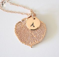 Rose Gold Leaf Initial Necklace Personalized Choose your Real Leaf Initial Necklace, Gold Leaf, Bridesmaid Gifts, Fall Wedding, Initials, Crochet Earrings, Rose Gold, Amazon, Link