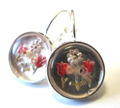 Antique glass 2-hole button earrings. TULIPS AND DAISY!