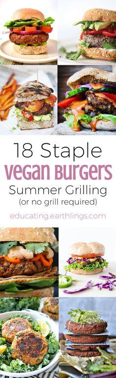 18 Staple Vegan Burger Recipes, plant based burger, veggie burgers veggie patties vegan patties, vegan protein, plant based protein, vegan meal prep, healthy meal prep