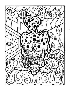 Click Visit to check out this coloring book on Amazon. The coloring book this coloring page comes from is called F*ck It, I'm Coloring. It is a hilarious swear word coloring book with cute cartoon animals and unique patterns. Each illustration is hand drawn and is completely original. #illustration #coloring #art
