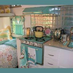 interior, vintage trailers, old campers, dream, color, vintage caravans, travel trailers, vintag camper, vintage campers