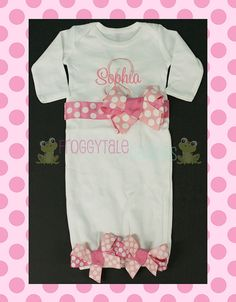 PERSONALIZED Newborn Baby Infant Layette Gown by FroggytaleDesigns, $41.00