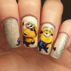 Despicable Me Minion Nail Art check out www.ThePolishObsessed.com for more nail art ideas.