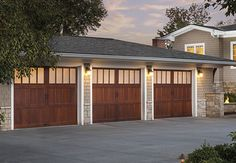 3 Car Dark Brown Reserve Wood Collection Limited Edition Series Garage Doors