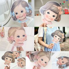 Afrocat Paper Doll Mate Cool Summer Fan Folding Hand PP Translucence Authentic  #CoolSummerHandFan