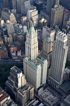 Office and residential buildings stand in the financial district of Manhattan in this aerial photograph taken over New York, U., on Wednesday, July Photographer: Daniel Acker/Bloomberg # New York From Above, City From Above, Woolworth Building, Teatro Da Broadway, Empire State Building, Places To Travel, Places To See, New York City Buildings, Times Square