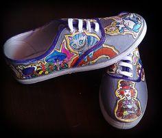Personalized handpainted shoes, Alice in Wonderland Fanart shoes, custom snekers