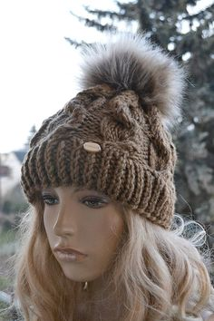 38e19209 Knitted brown cap hat, FUR POMPOM, Women's Hat, Winter Women Hat, Slouchy  Beanie, Slouchy Hat, Winter Beanie Knit Hats, Women Slouchy Beanie