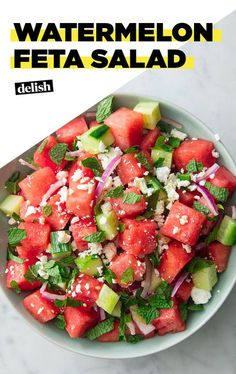 This Watermelon Feta Salad Screams SummerDelish Mint Recipes, Watermelon Recipes, Summer Recipes, Watermelon And Feta Salad, Easy Summer Salads, Healthy Summer, Vegetarian Recipes, Cooking Recipes, Healthy Recipes