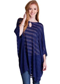 Striped Keyhole Dolman Trapeze Top TS3743NB, clothing, clothes, womens clothing, jeans, tops, womens dress