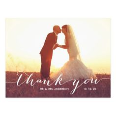 Simple Script Photo Wedding Thank You Postcard