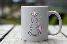 Yoga Unicorn | Unicorn Mug | Yoga Mug | Lotus Position Unicorn Mug | Printed Unicorn Mug | Unicorn Coffee Cup by TheSugarCreekShoppe on Etsy