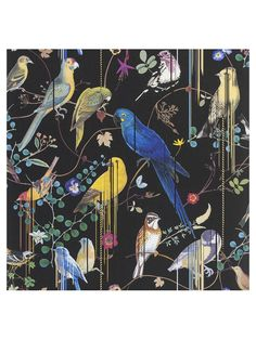 Birds Sinfonia by Christian Lacroix - Black - Wallpaper : Wallpaper Direct Bird Wallpaper, Black Wallpaper, Salon Wallpaper, Chinoiserie Wallpaper, Wallpaper Ideas, Iphone Wallpaper, Haute Couture Gowns, Haute Couture Fashion, Designers Guild