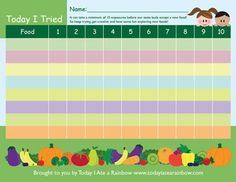 Free Today I Tried chart! Don't give up too soon it can take at least 10 tries to like a new food!