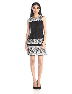 Anna Sui Womens Floral Lace Stripe Dress BlackMulti 10 *** You can get more details by clicking on the image.