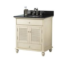 Home Decorators Collection Cottage 31 in. W x 22 in. D Bath Vanity in Antique White with Granite Vanity Top in Beige with White Sink - The Home Depot White Sink, Vanity, Granite Vanity Tops, Bathroom Fixtures, Primitive Bathrooms, Home Decorators Collection, Bathroom, Bathroom Vanity Base, Bathroom Vanities Without Tops