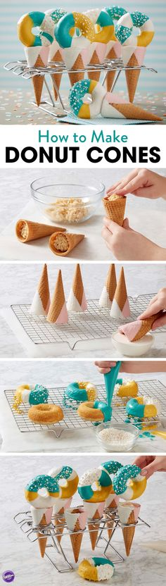 How to Make Donut Cones - Tasty homemade donuts top these candy-dipped sugar cones treats that are great for birthdays or special summer celebrations. Further customize these treats by using your favorite Candy Melts candy colors to decorate these donuts.