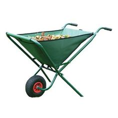 Bosmere Folding Wheelbarrow. Folding Wheelbarrow A wheelbarrow with a strong powder coated metal frame, a pneumatic wheel and a PVC-backed polyester bag with wipe clean surfaces. It has a three storage pouches on the back of the bag for small tools etc. Easily folds away for storage in a shed or garage using the hanging loop and Velcro tie. Measures 45-in H x 13-in W when folded flat.  Capacity: 3.25 cubic feet Wheel dimensions: 10-in Dia x 3-in W 3-in wide pneumatic tires...