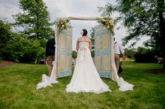 Neat outside wedding entrance ideas from Glorious Events. A Jongeling How do you feel about outside doors? Wedding Ceremony Ideas, Outdoor Wedding Entrance, Outside Wedding, Outdoor Weddings, Outdoor Ceremony, Garden Entrance, Wedding Backdrops, Garden Weddings, Bicycle Wedding