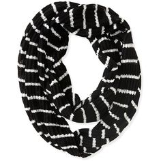 Aeropostale Striped Knit Infinity Scarf ($8) ❤ liked on Polyvore featuring accessories, scarves, black, loop scarves, lightweight scarves, print infinity scarf, knit infinity scarves and black infinity scarf