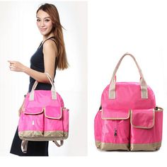 Multifunctional Large Capacity Baby Diaper Nappy Shoulder Bag Mummy Bag Backpack w/Changing Pad Rose