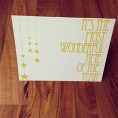 Christmas Card - It's the Most Wonderful Time of the Year - Gold - Holiday Card - Stationery. $4.00, via Etsy.