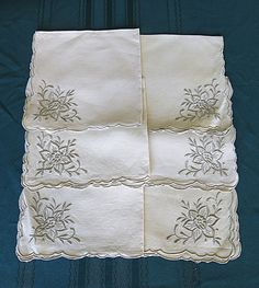 Set of 6 Madeira Embroidered Napkins Creamy White by CoconutRoad #GotVintage #Vintage #Linens