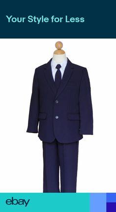 1515460d7 7pc S M L XL 2T 3T 4T Baby Toddler Boy Dark Grey Suits Tuxedo Formal ...