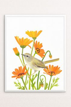 Nature Decor, Bird + Flower Art Print Instant Download by PRINTSPIRING