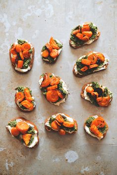 Honey-Roasted Carrot Tartines with Whipped Goat Cheese and Pistachio-Carrot Top Pesto