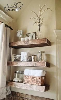 Wonderful Useful Tips: Floating Shelves Bathroom Pantries floating shelves around tv tv frames.Floating Shelves Over Bed Storage floating shelf decor stairs.How To Build Floating Shelves Shelf Brackets. Bathroom Shelf Decor, Rustic Bathroom Shelves, Floating Shelves Bathroom, Diy Bathroom, Wood Shelves, Bathroom Ideas, Bathroom Storage, Small Bathroom, Glass Shelves
