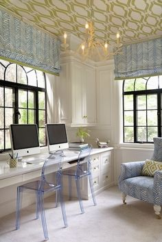 Love the wall paper on the ceiling with all the white in the floor and desks. Great accent. Home Office Space, Home Office Design, Office Spaces, Feminine Home Offices, Feminine Office, Lucite Chairs, Blue Chairs, Wallpaper Ceiling, Office Wallpaper