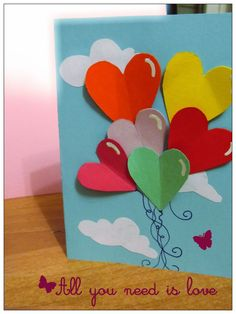 as shown=no popup, just folded hearts. 5 Min Crafts, Craft Stick Crafts, Easy Crafts For Kids, Diy And Crafts, I Miss You Card, Heart Crafts, Mother's Day Diy, Mothers Day Crafts, Cards For Friends