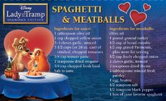 Disney Recipe FOR SPAGHETTI AND MEAT BALLS!