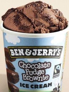ice cream, especially chocolate fudge brownie from Ben & Jerry's or just ordinary orange chocolate ice cream