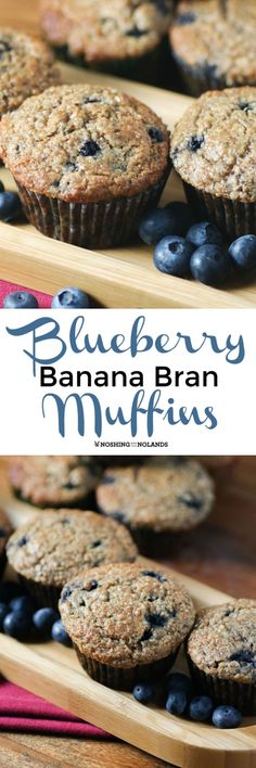 Blueberry Banana Bran Muffins by Noshing With The Nolands will have you start off the New Year deliciously! Donut Muffins, Banana Bran Muffins, Oatmeal Muffins, Donuts, Muffin Recipes, Cake Recipes, Breakfast Recipes, Dessert Recipes, Breakfast Muffins