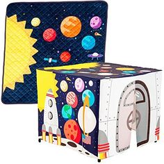 Kid's Perfect Adventure Bundle - Astronaut Reversible Play Mat and Spaceship TeePee - Perfect Playroom Decoration for Boys and Girls! Interactive and Educative Playset for Toddlers.