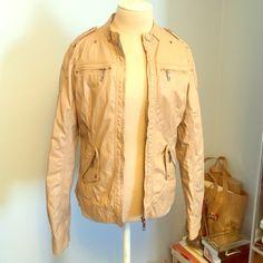 Forever 21 light tan leather jacket Size large light tan leather jacket with pockets and zippers Forever 21 Jackets & Coats Utility Jackets