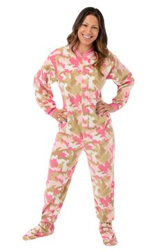 207 Pink Camo Footed Onesie PJs Big Feet Pjs pink camouflage micro-polar fleece footed pajamas are ideal for that feminine outdoorsy type! They are made of 100% micro-polar fleece and are so durable, they will last for years. Also, the fabric is higher quality than other fleece pajamas and will not pill when taken out of the dryer. These pajamas button up the front and have non-slip soles.  Available with or without the drop seat. http://www.bigfeetpjs.com/pajama-sleepwear/207.html