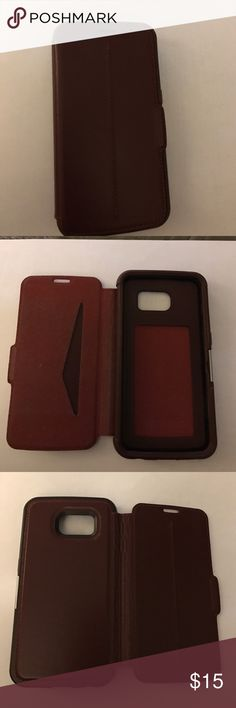 Otterbox S6 case Brick Red leather folio magnetic case for S6, otterbox strada Accessories Phone Cases