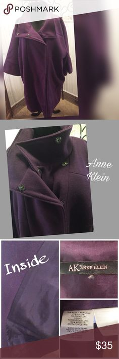 """Wool 'Bench' Coat 33"""" long. Lots of snaps.  Large sleeves.  Purple wool in very good used condition. Anne Klein Jackets & Coats"""