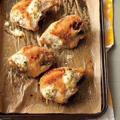 Jalapeno Popper Chicken Breasts only require 3 ingredients (chicken included)! | http://www.rachaelraymag.com/recipe/jalapeno-popper-chicken-breasts/