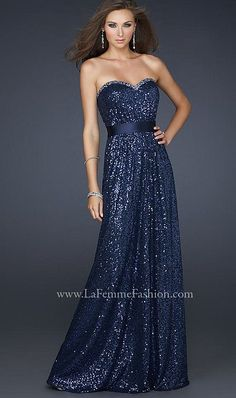 La Femme Strapless Sequin Prom Dress