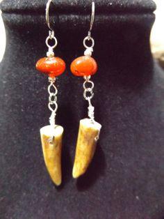Carnelian and Deer Antler Earrings, Carnelian Jewelry, Crystal Healing Earrings, Chakra Healing Earrings, Sacral Chakra, Chakra Stone by kboserartist on Etsy