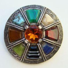 Vintage Miracle Scottish Circular Brooch Pin Topaz by redroselady, $39.00