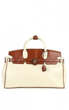 Two Tone Weekend Bowler Bag BEIGE