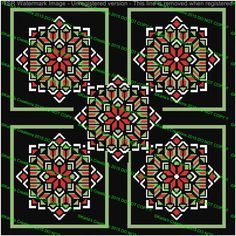 5 Quilt Flower Christmas Afghan Graph by KarlasCreationsGraph