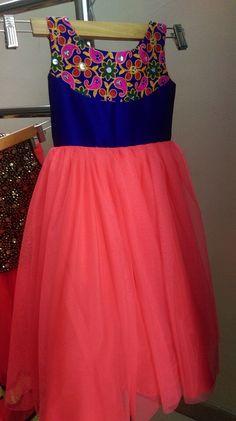Pink Frock with thread Work Yoke - Indian Dresses Kids Party Wear Dresses, Kids Dress Wear, Little Girl Dresses, Baby Dresses, Kids Wear, Girls Dresses, Long Frocks For Girls, Kids Lehenga Choli, Kids Ethnic Wear