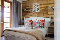 Country cottage with a twist. Love the feature wall and the pop of colour. Furniture, Room, Home Decor, Bed, Home Diy, Pallet Diy, Headboard, Pallet Headboard Diy, Bedroom